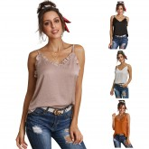 Women's V-neck Camisole Pullover Backless T-shirt 251895