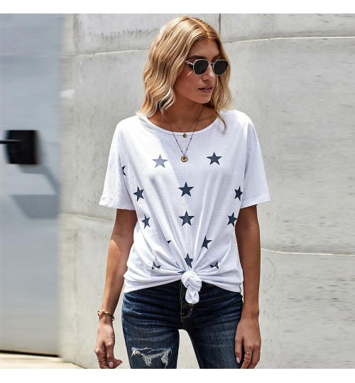 Casual Outerwear T-Shirt Women's Summer New Star Print Knotted Top 253539
