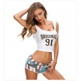 Women's Low-Rise Jeans Shorts Sexy Hot Pants Ripped Jeans 388#