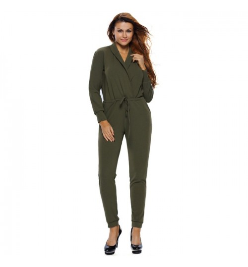 army green deep V-neck long sleeve pocket club fashion jumpsuit
