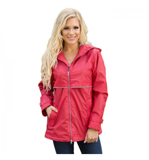 new solid color long sleeve zipper side pocket leisure sports hooded jacket