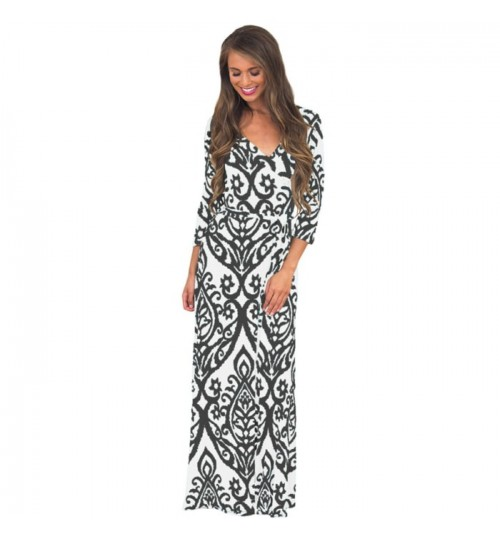 Autumn Winter black and white stitching V-neck sleeves Bohemian long retro dress