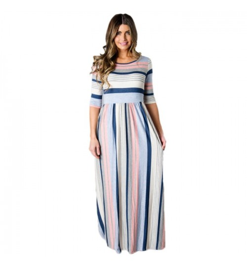 Autumn Winter multicolor striped crew neck with pocket side zipper casual dress