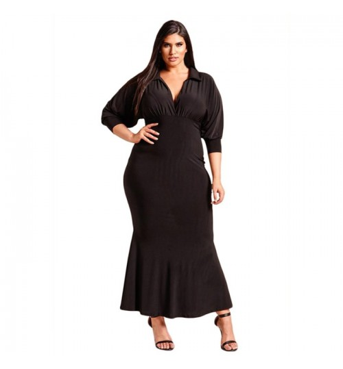 Autumn Winter new fat woman XL solid color V-neck long sleeve pleated fat skirt dress