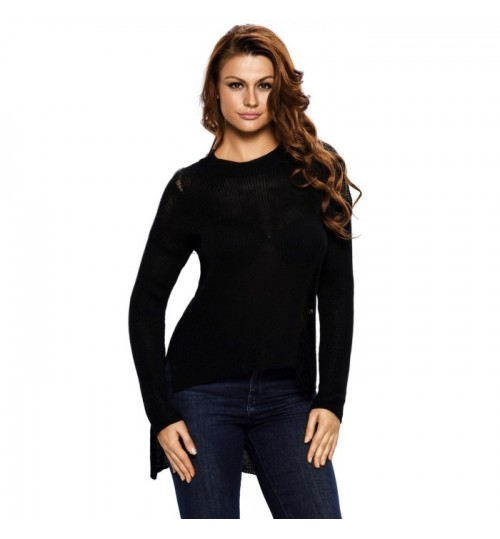 Autumn Winter new long sleeve front short back long cotton knit sweater