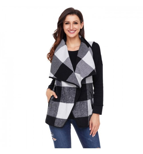 Autumn Winter new plaid stitching lapel two pockets casual vest jacket