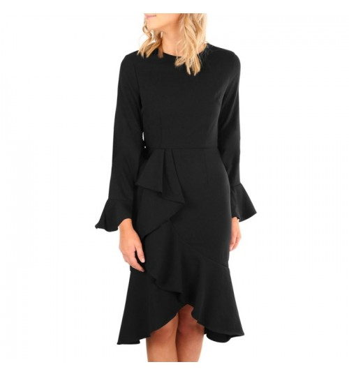 Autumn Winter new round collar horn long sleeve back zipper fringe skirt dress