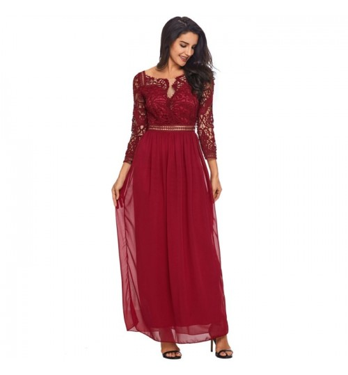 Autumn Winter new round collar lace sleeve crocheted backless cropped dress