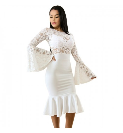 Autumn Winter new round collarerchief lace long sleeve lace mermaid dress