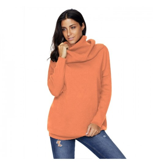 Autumn Winter new solid collar long sleeve casual comfort warm knit sweater