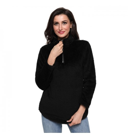 Autumn Winter new solid color high collar long sleeve collar zipper pocket casual wool coat