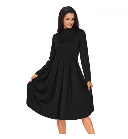 Autumn Winter new solid color high collar long sleeve pleated casual long sleeve dress