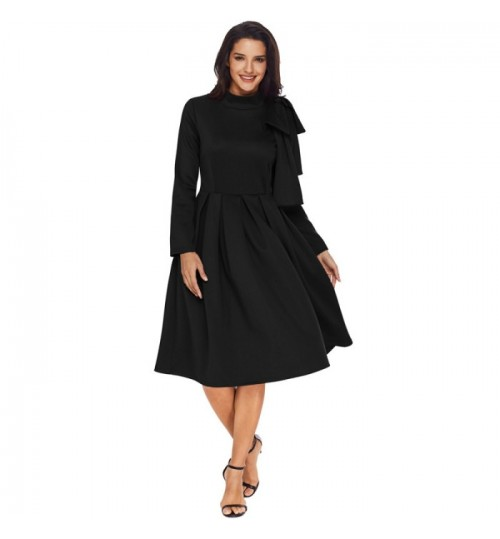 Autumn Winter new solid color high collar long sleeve side zipper bowknot pleated skirt dress