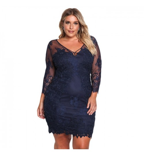 Autumn Winter new solid color plus-size V-neck bracelet sleeve back zipper lace embroidery dress