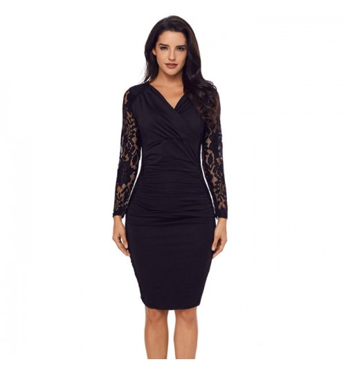Autumn Winter new solid color V-neck long sleeve back zipper lace pleated Dress