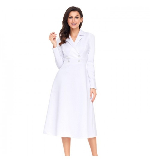 Autumn Winter new solid color V-neck long sleeve side zipper buttons decorative casual long dress