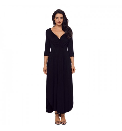 Autumn Winter new solid color V-neck sleeves two-pocket pleated loose jumpsuit dress