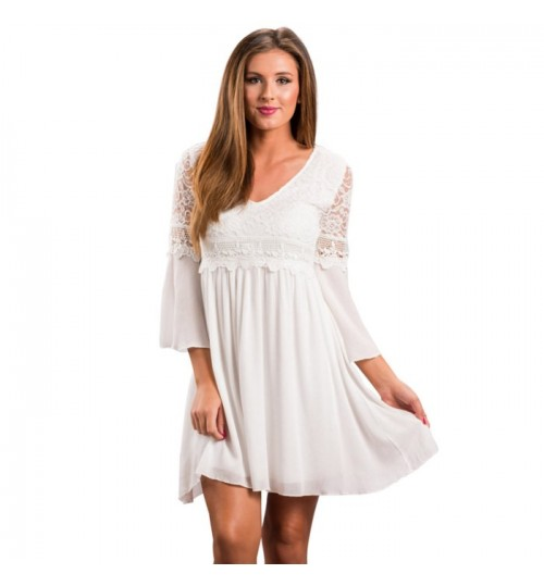 Autumn Winter new V-neck long sleeve lace bohemian mini dress