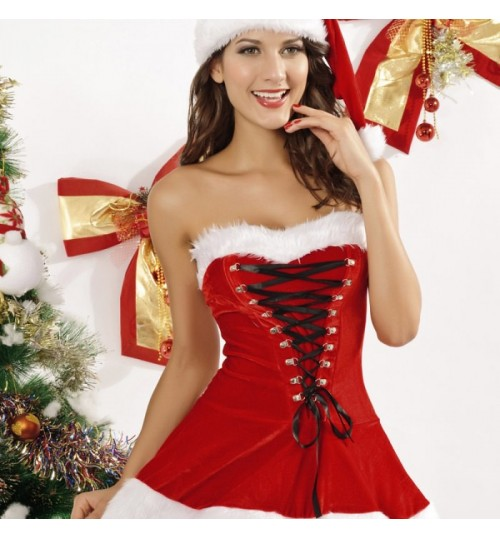 Christmas fancy dress red aristocratic Christmas hat vest skirt