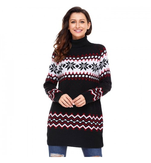 Christmas high collar long sleeve snowflake print casual knit sweater