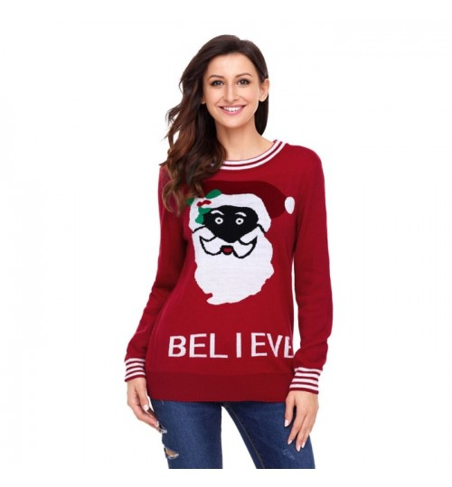 Christmas long sleeve Santa Claus letter pattern casual sweater