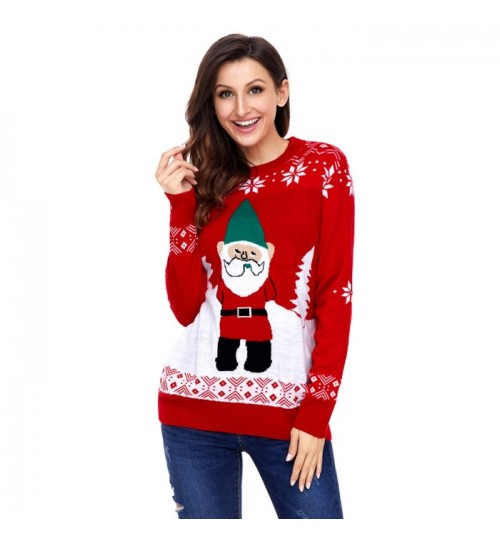 Christmas long sleeve Santa Claus pattern casual knit sweater