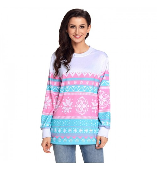 Christmas long sleeve snow print comfortable pullover casual sweater