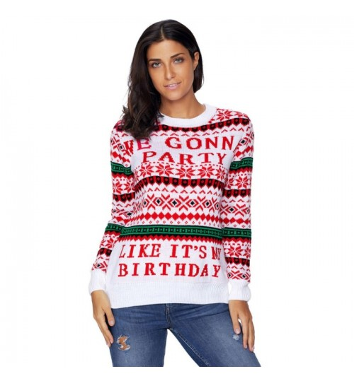 Christmas long sleeve white red green letters prints casual sweater