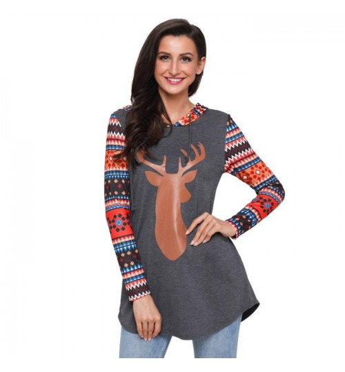Christmas new reindeer prints colorful stitching long sleeve pocket casual hooded sweater