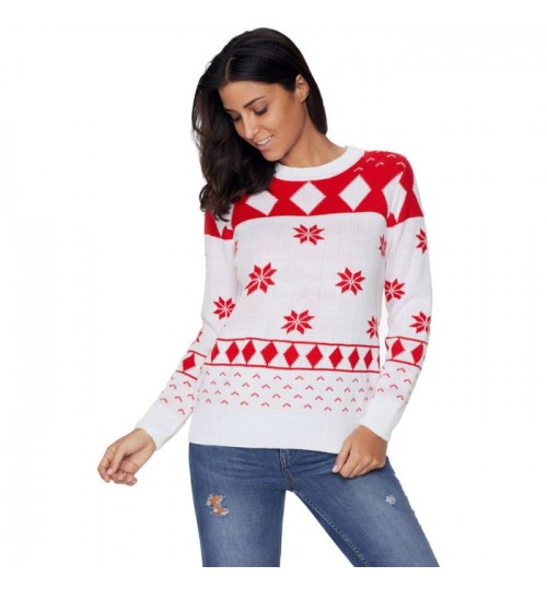 Christmas new round collar long sleeve 3D prints pattern casual knit sweater