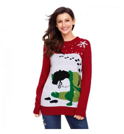 Christmas new round collar long sleeve cartoon wool pullover casual knit sweater