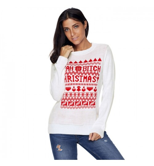 Christmas new round collar long sleeve letters pattern casual knit sweater