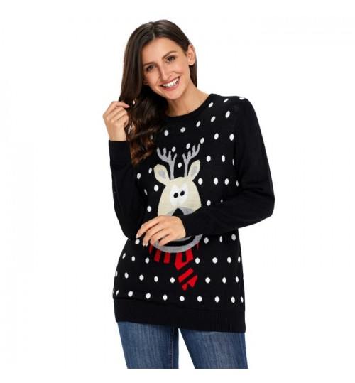 Christmas round collar long sleeve bottoming shirt reindeer polka dot pattern pullover casual sweater