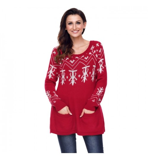 Christmas round collar long sleeve prints casual knit sweater