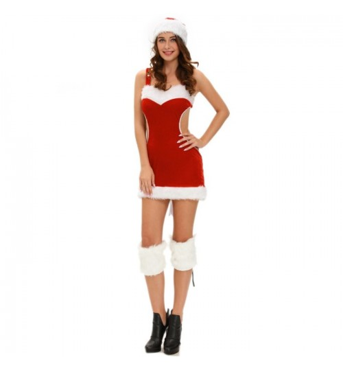 Christmas Santa Claus three piece red strap dress hat legging costume