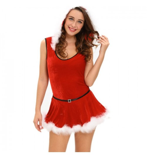 Christmas stage costume red Santa Claus two-piece bodysuit belt fashion suit