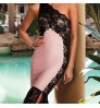 European new lace stitching dragging long skirt one-piece dress