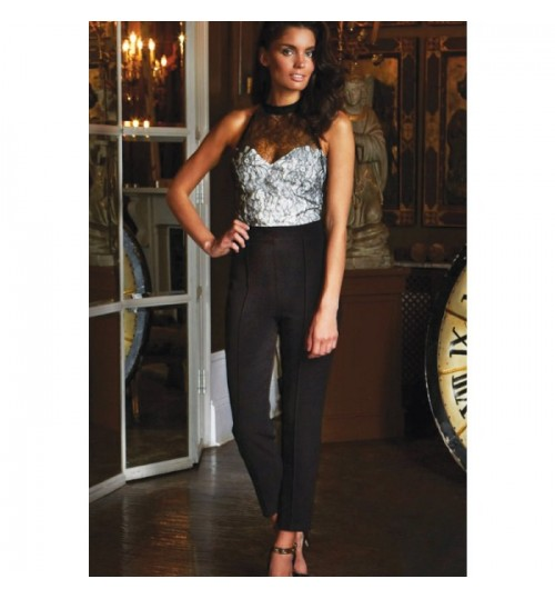 European women new backless black casual pants lace splicing sexy jumpsuit