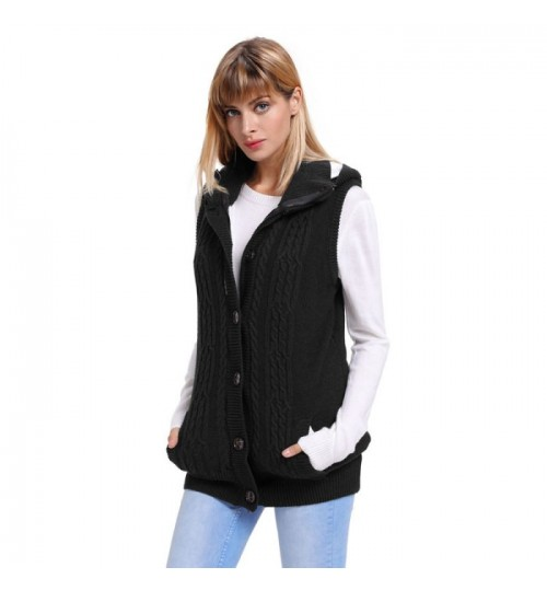 Fashionable single-breasted sleeveless vest casual knit hooded sweater