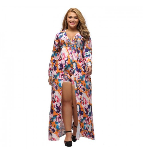 Fat woman plus-size multi-color V-neck long sleeve side zipper split fashion print jumpsuit