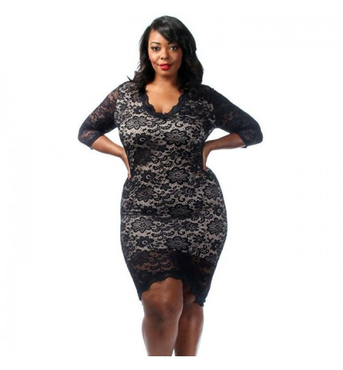 Fat women plus-size round collar seven short sleeve long lace prints slim dress