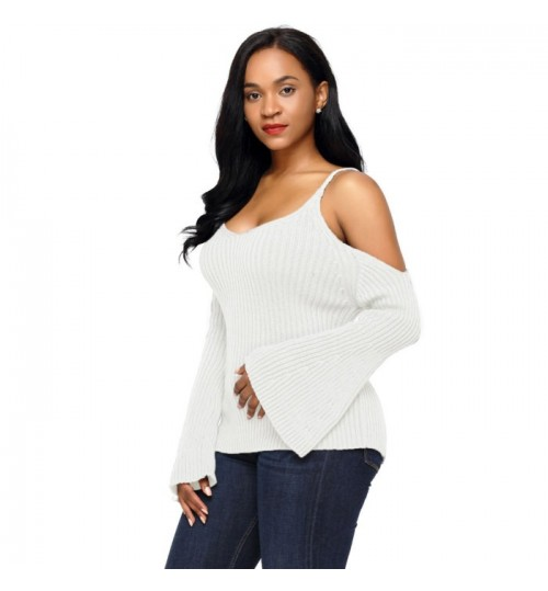 Gray black white V-neck long sleeve off shoulder warm casual knit sweater