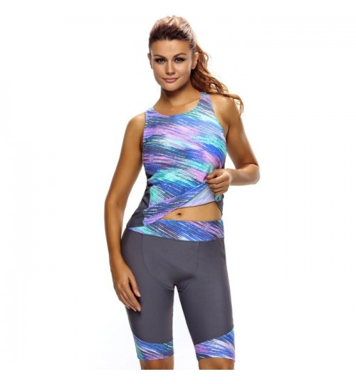 Gray green stitching sleeveless shirt with bra pad and cropped pants two-piece diving swimsuit