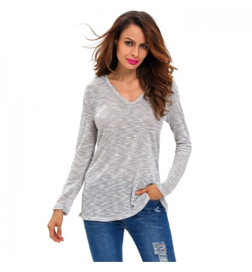 gray street shirt hooded V-neck long sleeve loose knit casual fashion sweater