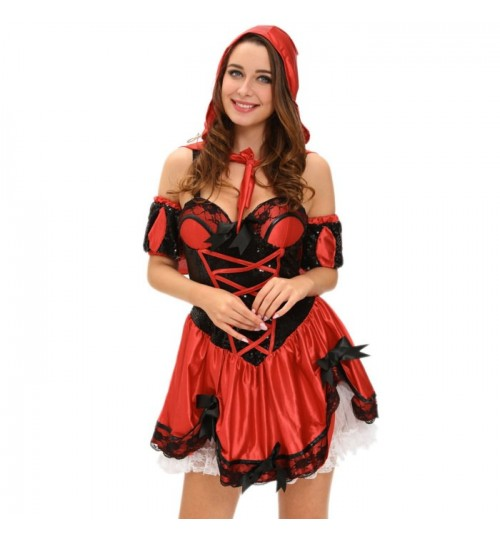 Halloween Little Red Riding Hood four-piece dress hat back bowknot wrist stage costumes