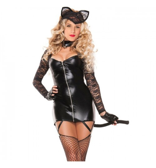 Halloween new black tube top long sleeve zipper 2 piece set sexy lace bunny costume