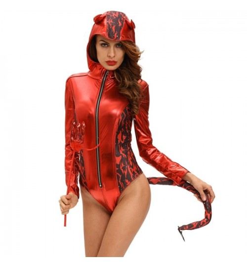 Halloween new red devil hat bodysuit horns fork stage character costumes