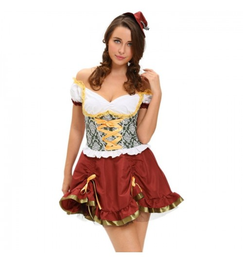 Halloween new sexy adult beer girl short sleeve skirt hat stage party costumes