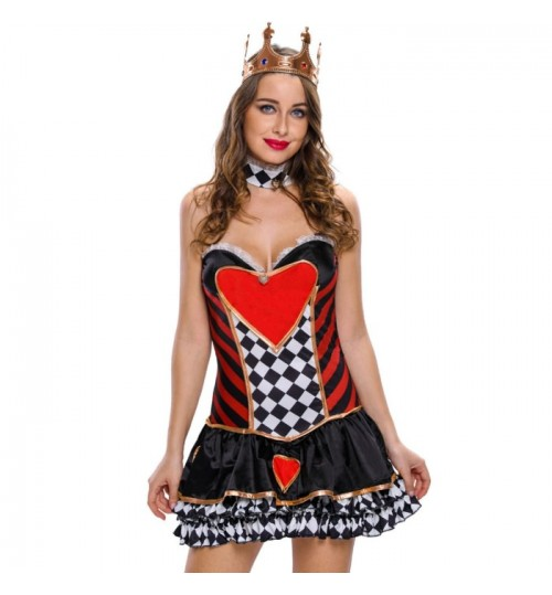 Halloween new sexy black Queen skirt strapless backless neck ring stage cosplay costume