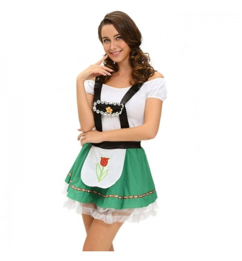 Halloween sexy beer girl costumes two-piece jacket suspenders skirt stage costumes